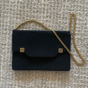 Vintage Dior Black Purse with Gold Chain Strap